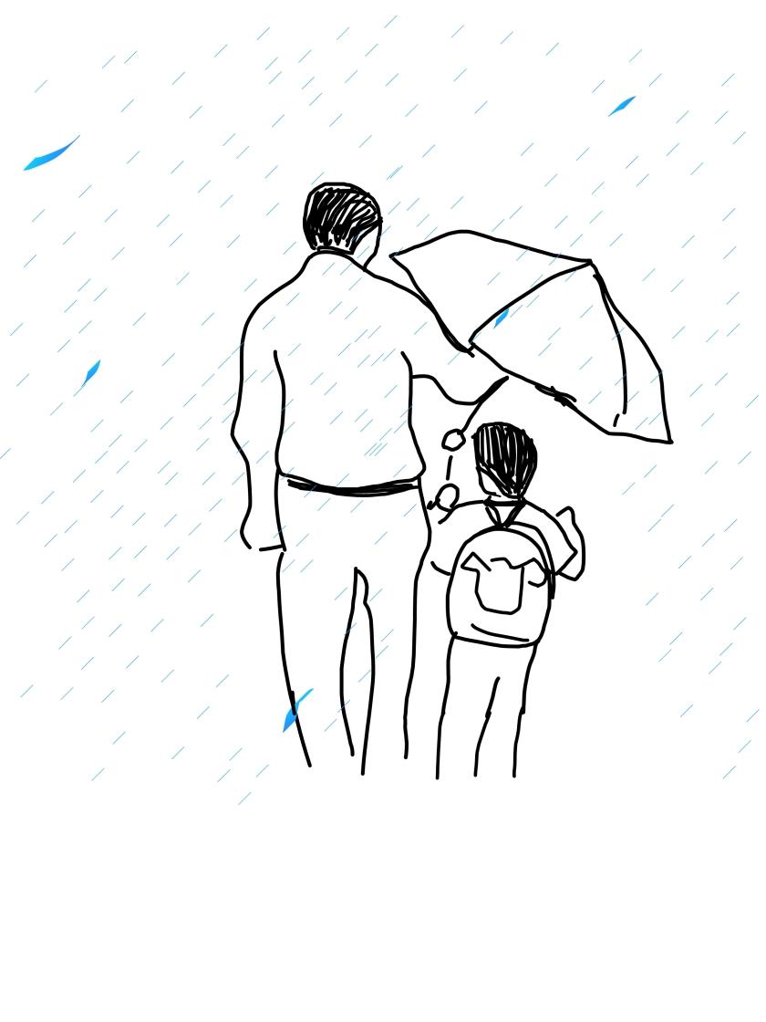 padre bajo la lluvia